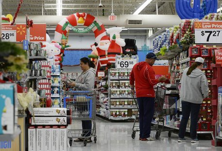 Customers shop for Christmas ornaments at a Walmart store in the Porter Ranch section of Los Angeles November 26, 2013. REUTERS/Kevork Djans