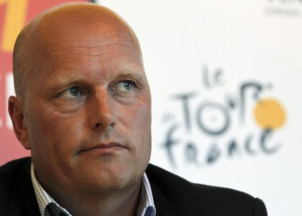 Saxo Bank-SunGard team manager Bjarne Riis of Denmark attends a news conference at the Tour de France media centre in Les Herbiers June 30,