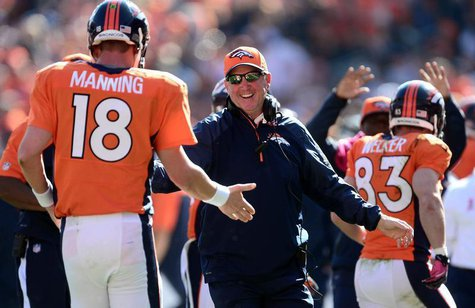 Oct 13, 2013; Denver, CO, USA; Denver Broncos head coach John Fox reacts to the touchdown pass by quarterback Peyton Manning (18) to wide re