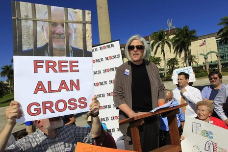 Judy Gross, (C) the wife of Alan Gross a U.S. contractor jailed in Cuba for crimes against the state, speaks a rally for her husband's relea