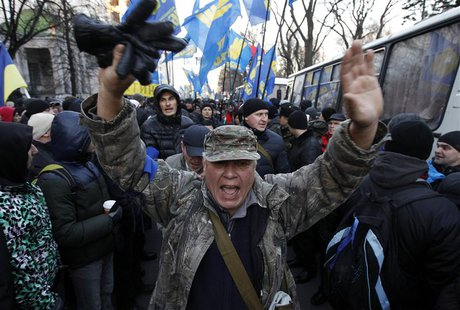 A protestor shouts during a demonstration in support of EU integration in Kiev December 3, 2013. REUTERS/Vasily Fedosenko