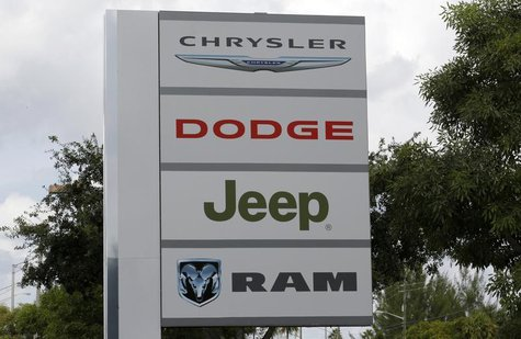 A sign is shown at the Massey-Yardley Chrysler Dodge, Jeep and Ram automobile dealership in Plantation, Florida October 8, 2013. REUTERS/Joe