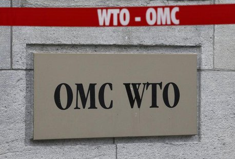 The World Trade Organization WTO sign is seen at the entrance of the WTO headquarters in Geneva April 9, 2013. REUTERS/Ruben Sprich