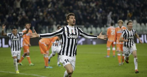 Juventus' Fernando Llorente celebrates after scoring against Udinese during their Italian Serie A soccer match at Juventus stadium in Turin