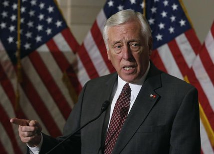 U.S. Representative Steny Hoyer (D-MD) talks to the media on Obamacare following a Caucus meeting on Capitol Hill in Washington, November 14