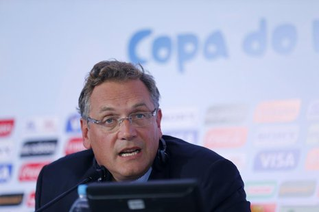 FIFA Secretary General Jerome Valcke speaks at a news conference after meeting with members of the 2014 World Cup local organizing committee