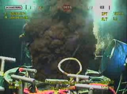 Oil gushes from Bp's ruptured well in the Gulf of Mexico, in this frame grab captured from a BP live video feed on July 11, 2010. REUTERS/BP