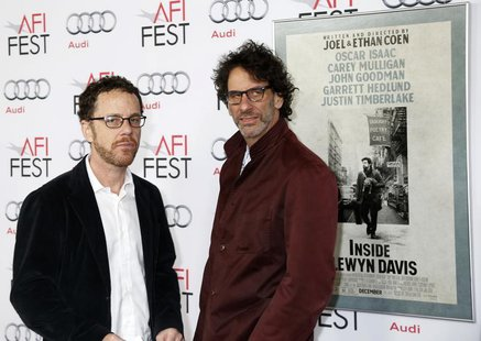 "Directors Joel (R) and Ethan Coen arrive for the screening of their new film ""Inside Llewyn Davis"" on the closing night of the American Film"