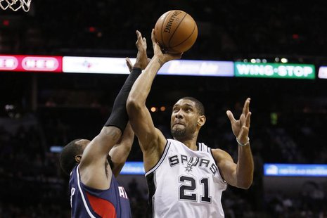Dec 2, 2013; San Antonio, TX, USA; San Antonio Spurs forward Tim Duncan (21) drives to the basket as Atlanta Hawks forward Paul Millsap (lef