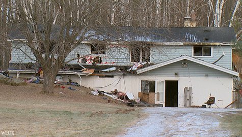 This home on Hwy. 141 in the town of Amberg was destroyed by fire, Nov. 27, 2013. (Photo from: FOX 11).