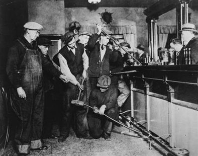 U.S. Prohibition agents destroy a bar in an undated photo held by the National Archives and Records Administration. CREDIT: REUTERS/U.S. INFORMATION AGENCY/NARAE/HANDOUT VIA REUTERS