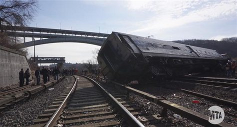 A still image taken from a MTA (Metropolitan Transportation Authority) video shows Hudson Line derailment recovery operations in New York De