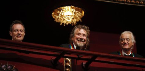 Members of Led Zeppelin are pictured on the balcony of the Kennedy Center as 2012 honorees in Washington, December 2, 2012. (L-R) John Paul