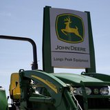 A new John Deere tractor waits for a buyer at a dealer in Longmont, Colorado August 18, 2010. REUTERS/Rick Wilking