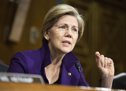 Senator Elizabeth Warren (D-MA) questions U.S. Federal Reserve Vice Chair Janet Yellen (not pictured) during a Senate Banking Committee conf