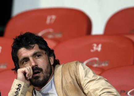 Injured FC Sion player Gennaro Gattuso sits in the tribune before the start of the second half of their Swiss Super League soccer match agai