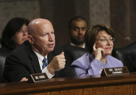 Joint Economic Committee members chairman Rep. Kevin Brady (R-TX) (L) and co-chair Sen. Amy Klobuchar (D-MN) (R) question Federal Reserve Bo