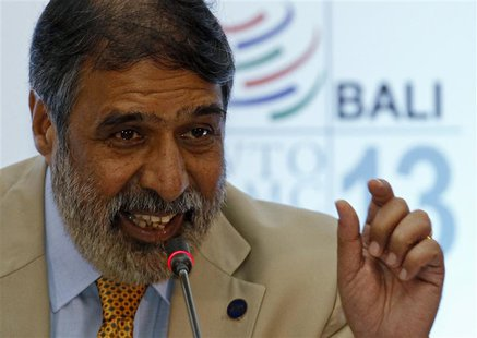 India's trade minister Anand Sharma speaks about food security during a news conference at the ninth World Trade Organization (WTO) Minister