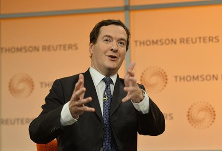 Britain's Chancellor of the Exchequer George Osborne speaks at a Thomson Reuters Newsmaker event at Canary Wharf in London October 22, 2013.