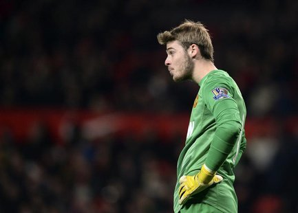 Manchester United's David De Gea reacts during their English Premier League soccer match against Everton at Old Trafford in Manchester, nort