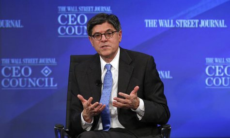 U.S. Treasury Secretary Jack Lew answers a question during the Wall Street Journal's CEO Council annual meeting in Washington, November 19,