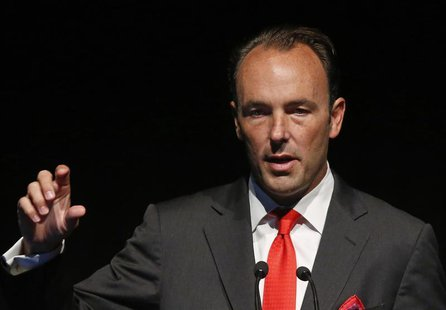 Kyle Bass, founder and principal of Hayman Capital Management, L.P., speaks at the Sohn Investment Conference in New York, May 8, 2013. REUT