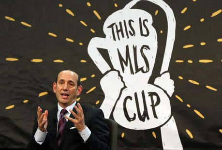 Dec 3, 2013; New York, NY, USA; MLS commissioner Don Garber speaks about the state of the league at Google Offices. Noah K. Murray-USA TODAY