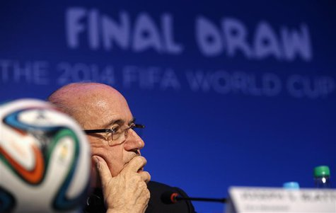 FIFA President Sepp Blatter listens to a question during a news conference ahead of the 2014 World Cup draw at the Cost. The draw will be he