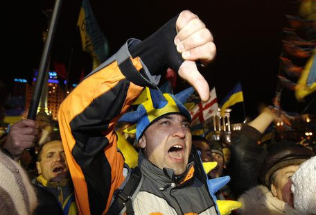 Protesters react during an opposition meeting at Independence square in Kiev, December 5, 2013. REUTERS/Vasily Fedosenko