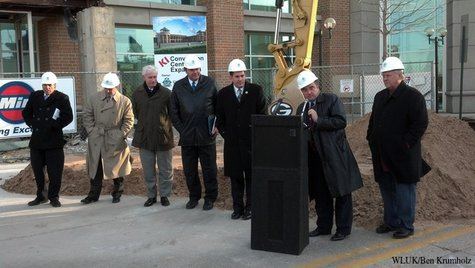 Green Bay Mayor Jim Schmitt speaks during the groundbreaking ceremony for the expansion of the KI Convention Center in Green Bay, Thursday, Dec. 5, 2013. (Photo from FOX 11).