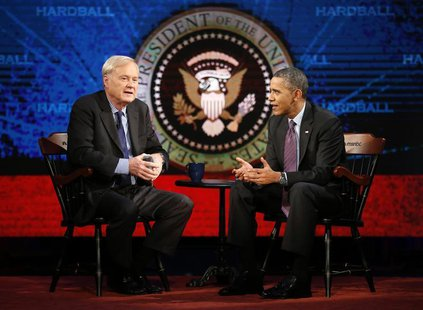 "U.S. President Barack Obama is interviewed on MSNBC's ""Hardball with Chris Matthews"" at American University in Washington December 5, 2013."