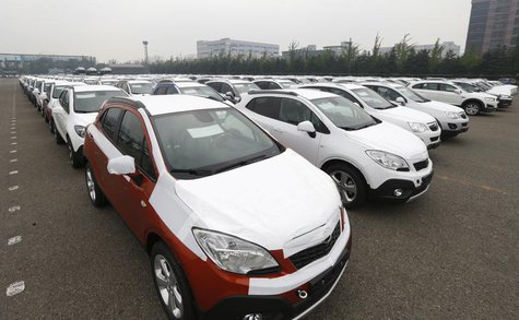 Cars made by GM Korea are seen in a yard of GM Korea's Bupyeong plant before they are transported to a port for export, in Incheon, west of