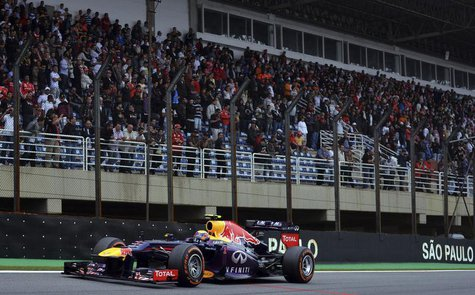 Red Bull Formula One driver Mark Webber of Australia drives during the Brazilian F1 Grand Prix at the Interlagos circuit in Sao Paulo Novemb