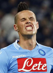 Napoli's Marek Hamsik reacts during their Italian Serie A soccer match against Juventus at the Juventus stadium in Turin November 10, 2013.