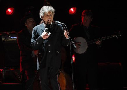 Singer Bob Dylan performs during a segment honoring Director Martin Scorsese, recipient of the Music+ Film Award, at the 17th Annual Critics