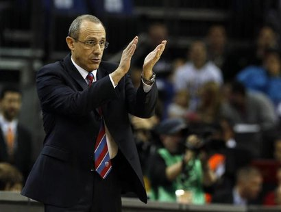 CSKA Moscow's head coach Ettore Messina reacts during their Euroleague Basketball Final Four third place game against Barcelona at the O2 Ar