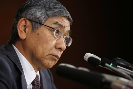 Bank of Japan (BOJ) Governor Haruhiko Kuroda listens to a reporter's question during a news conference at the BOJ headquarters in Tokyo Nove
