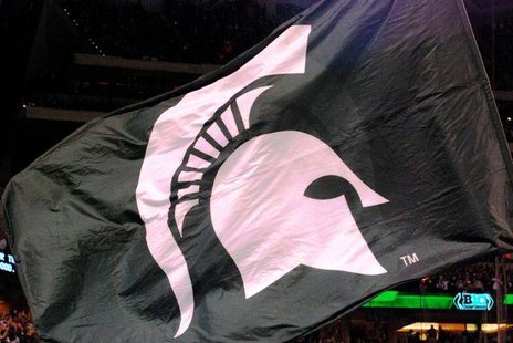 The Michigan State Spartans flag at the Big Ten Championship game in Indianapolis, Indiana.