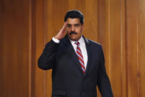 Venezuela's President Nicolas Maduro arrives at a meeting with ministers and lawmakers of the National Assembly at Miraflores Palace in Cara