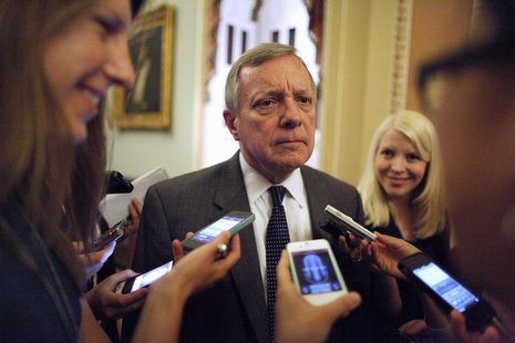 U.S. Senator Richard Durbin (D-IL) talks with reporters near the U.S. Senate floor at the U.S. Capitol during immigration debates in Washing