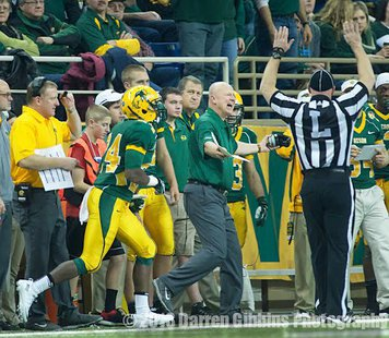 NDSU Head Coach Craig Bohl argues a call during the 2013 season.