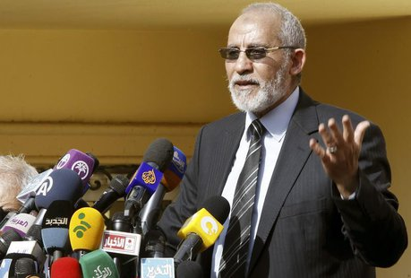 The supreme guide of Egypt's Muslim Brotherhood Mohamed Badie speaks during a news conference at the Brotherhood's main office, which was at