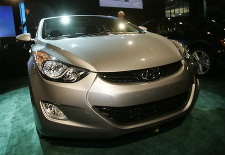 The 2012 North American Car of the Year, Hyundai Elantra, is exhibited on the first press preview day at Cobo Arena in Detroit, Michigan, Ja