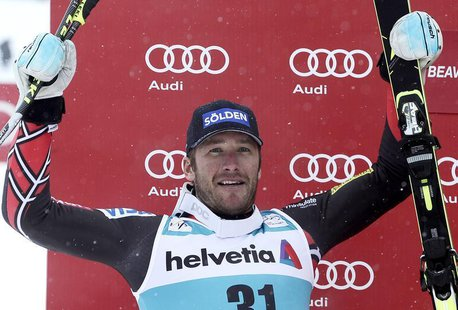 Bode Miller of the U.S. celebrates his second place finish in the men's World Cup Giant Slalom ski race in Beaver Creek, Colorado December 8