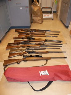 stolen guns found on the Wisconsin River ice below a bridge in Wausau.  Photo: Wausau Police Department
