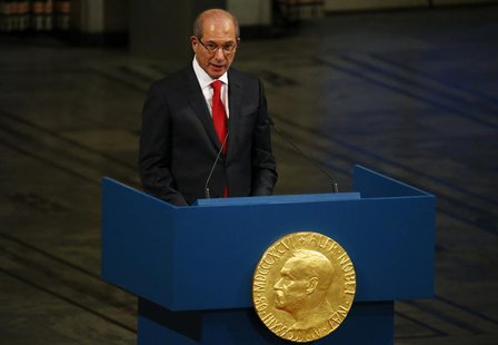 Ahmet Uzumcu, director general of the Organisation for the Prohibition of Chemical Weapons (OPCW) delivers a speech during the Nobel Peace P