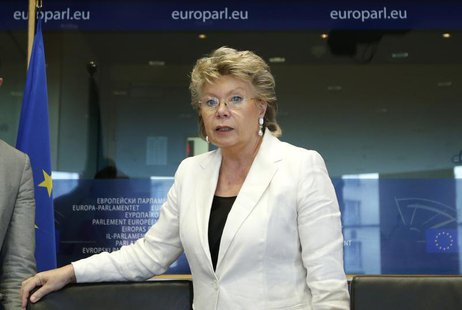 European Union Justice Commissioner Viviane Reding arrives to address the European Parliament's Committee on civil liberties, justice and ho