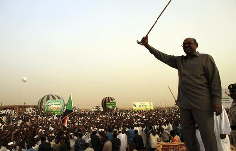 President Omar Hassan al-Bashir addresses a crowd in North Khartoum, June 8, 2013. REUTERS/Stringer (