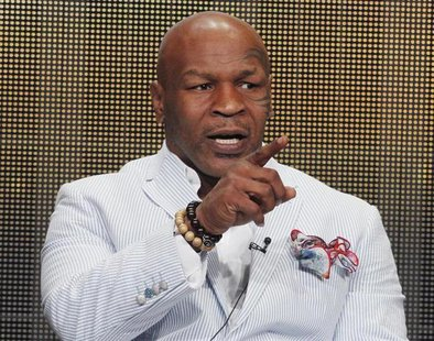 "Mike Tyson, star of HBO Films ""Mike Tyson: Undisputed Truth"", takes part in a panel discussion at the Television Critics Association Cable T"