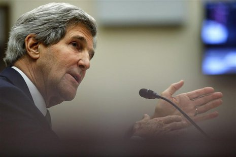 U.S. Secretary of State John Kerry testifies on agreements over Iran's nuclear programs, before the House Foreign Affairs Committee on Capit
